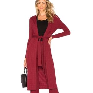 House of Harlow x Revolve Red Ribbed Duster